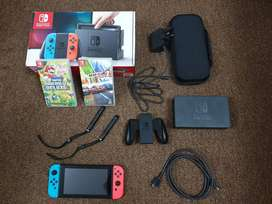 Nintendo Switch v1 with 2 Games + Carry Case