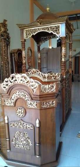 mimbar masjid kayu jati block
