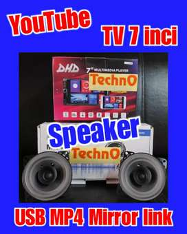 Tv mobil USB MP4 YouTube 7 in + Speaker pintu paket sound grosir