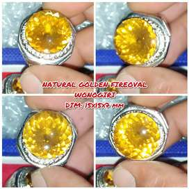 Cincin Permata Natural Golden Fire Oval