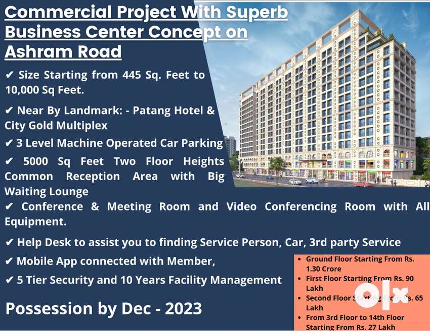 496 Sq Feet Commercial Space for Sale in Ashram Road