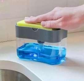Dispenser sabun cuci piring. Free sponge. Cukup ditekan.