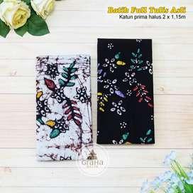 Kain Batik Tulis Asli Katun Bahan Batik Bakaran Kenanga Hitam Putih
