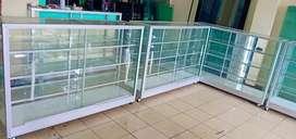 Jual etalase kaca ukuran 1 m * 1 m * 40 cm baru/1,1jt