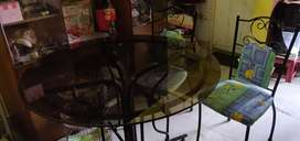 Wrought Iron Dining Table with Four Chairs