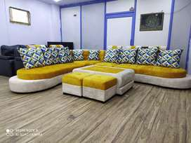 0 emi from Bajaj finance L sofa with center table and puffies