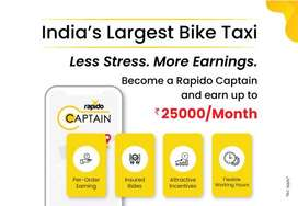 Rapido bike taxi company need bike riders