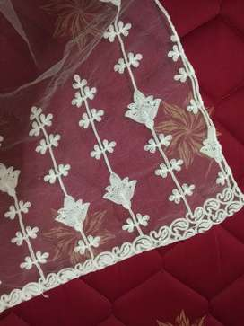 White embroidered net shawl