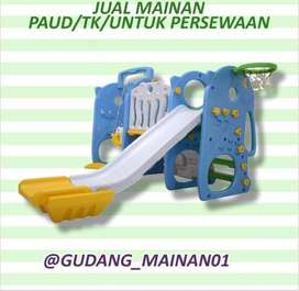 Mainan Indoor Playground Perosotan, Ring Basket, Ayunan Dengan Pagar