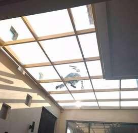 Pemasangan kanopi kaca kualitas bagus modern 42