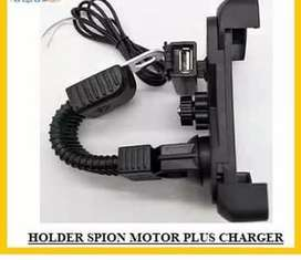 HOLDER MOTOR KACA SPION + CHARGER  UNTUK HP UKURAN 4in - 6,5inchi ( 18