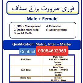 Part time office jobs Availability in lahore.