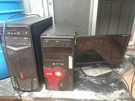 Monitor and two cpu Intel I 3 processor 2 GB ram working condition