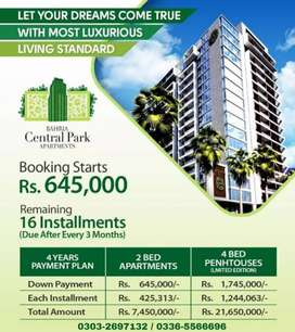 BAHRIA CENTRAL PARK APARTMENT 2BED 4BED PENT A HOUSE BOOKING OPEN
