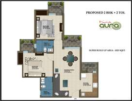 krish aura 2 bhk semi furnished flat for rent out...