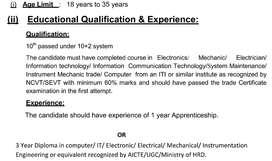 Field Technician For BSNL Qualifications ITI OR B.TECH