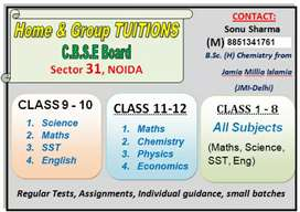 (S.S TUTORIALS) TUITION available or CBSE Board