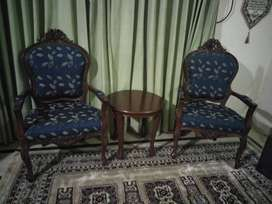 Bedroom chairs and a table