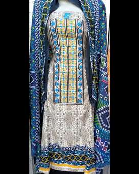 Khaddar three piece ladies dress with Embroided gala and wool shawl