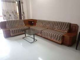 Full Sofa set with 1 corner table, 2 side tales n 1 central table