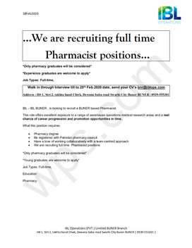 Required Pharmacist  in buner