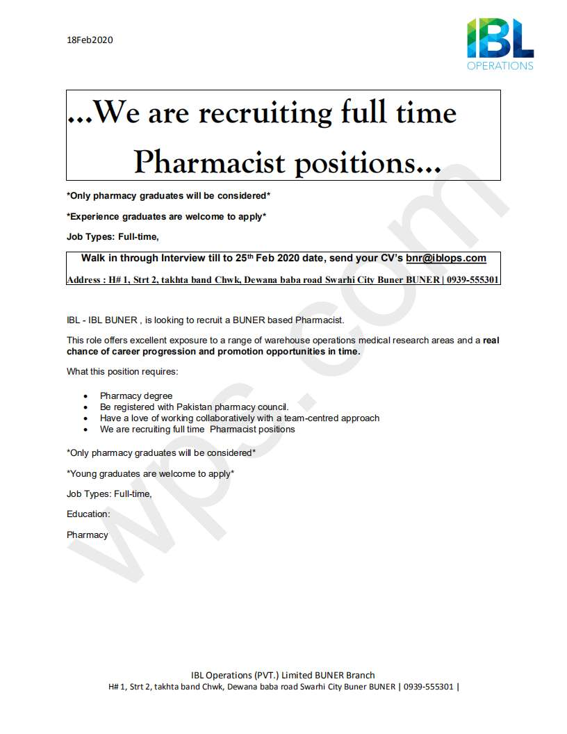 Required Pharmacist  in buner 0
