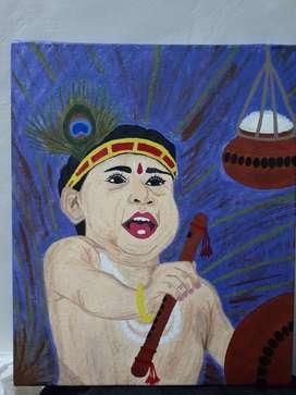 Acrylic Krishna Painting