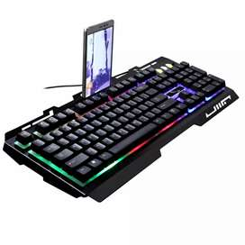 KEYBOARD LED LIGHT LEOPARD GAMING PC LAPTOP WITH SMARTPHONE HOLDER
