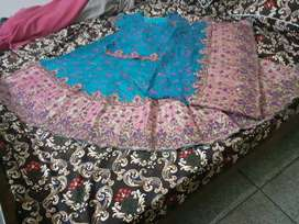 Walima lehnga tea pink and blue colour for women