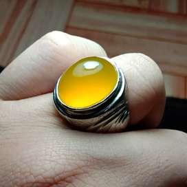 Batu cincin natural chrom chalcedony yellow sunkist