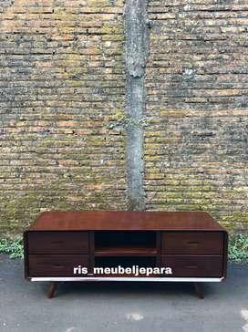 Meja tv minimalis retro kayu jati Code 3/1