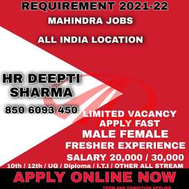 OFFICE WORK JOBS AVALIABLE IN AUTOMOBILE DEPARTMENT IN MAHINDRA MOTOR