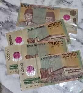 Uang lama kuno nominal 100.000 polimer
