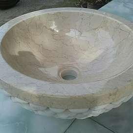 Wastafel Marmer Berdinding Batu Alam