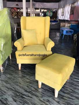 Sofa  wing Chair + Puff , bebas Pilih Kain ,