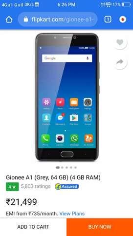 Gionee A1(black colour) seel ( 64 GB )RAM 4gb original price 21,499