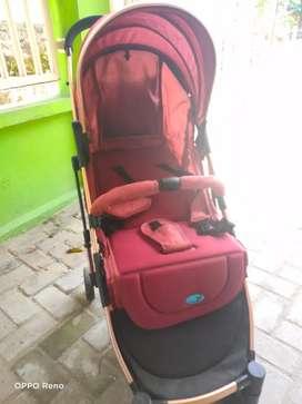 Dijual stroller labeille Zwolle warna merah cabin size lengkap kotak