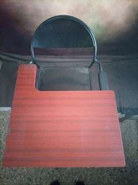 Folding study chair with large  writing pad