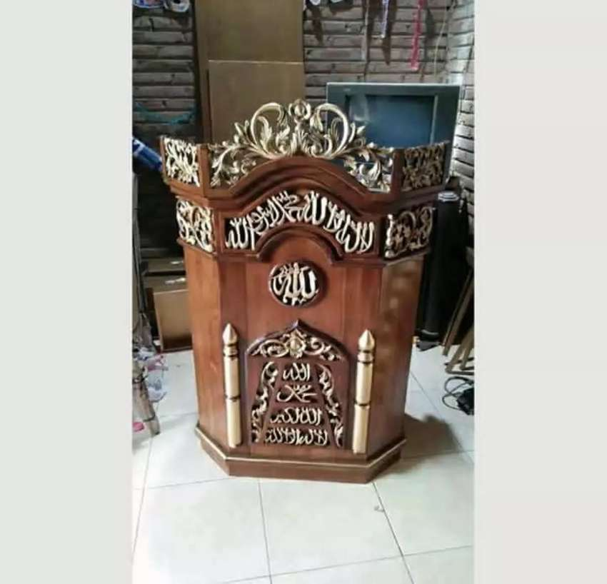 mimbar masjid terkini kayu jati 0