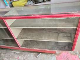 Wood Rack with glass for food shop/stationary