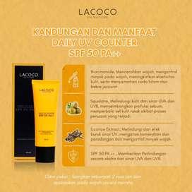 Sunscreen SPF 50+ Sunblock Wajah Tabir Surya Lacoco, anti flek wajah