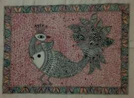 Hand made Mithila painting size 13 inch/18 inch