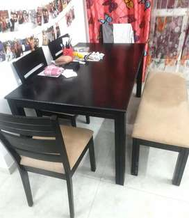 Wooden Dinning Table - 4 Chair one Bench
