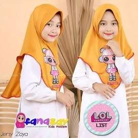 Jilbab anak LED bhn jersy
