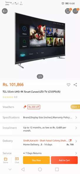 """TCL P5 55"""" CURVED 4K UHD HDR 10 Smart LED TV with Box and 5 mnth wrnty"""
