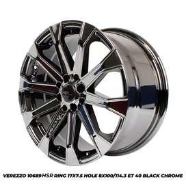 Jual velg racing mobil verezzo black crom ring 17 bisa cash/credit