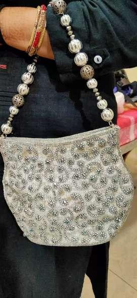 Metro white handbag