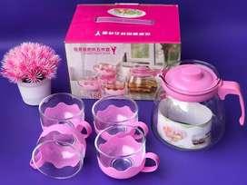Teapot teko set 4 gelas pink murah