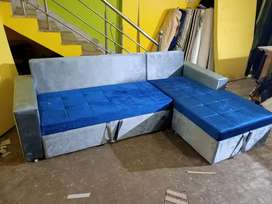 Unique L shape hydrolic sofa cum bed comes with sufficient storage