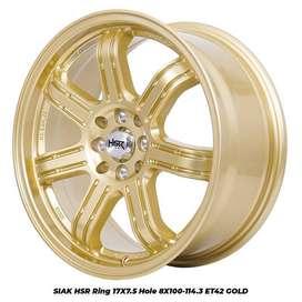 jual velg SIAK HSR R17X75 H8X100-114,3 ET42 GOLD